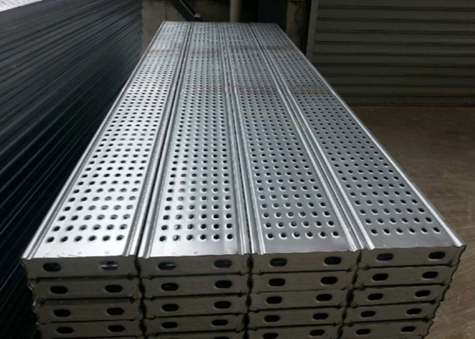 Durable Silver Steel Scaffold Planks 730 - 3070 Mm Length 6 Years Life Span